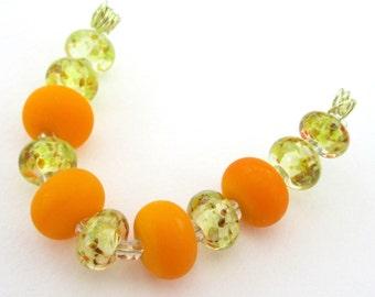Lampwork glass beads - handmade yellow orange glass beads - set of round beads - artisan glass craft supplies - jewelry components