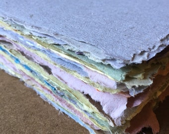 10 assorted sheets of handmade paper, recycled paper, eco friendly paper, natural paper, textured paper, decorative paper, collage supply
