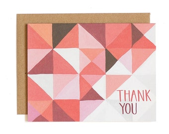 Red Geometric Thank You Illustrated Card