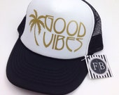 Good Vibes Womens Trucker Hat Snapback Adjustable Hat Black and White Summer Palm Tree Gold