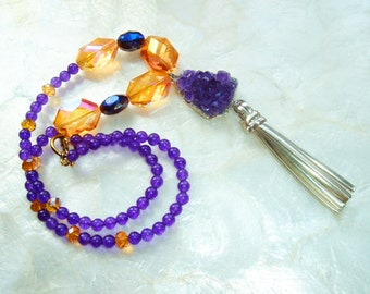 Handmade, Artisan Round Smooth AAA Amethyst Necklace, Leather Tassel, Large Faceted Amber Crystals, Amethyst Druzy, Valentines Day Gift