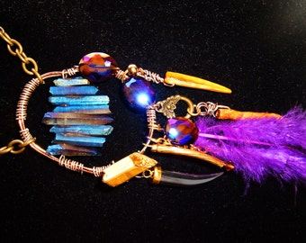 Wild Bohemian Titanium Quartz, Bent Wire, Feather, Shell, Hematite Talon Necklace, Brass Chain with Coins, Golden Coral
