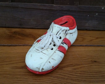 Vintage Red and White Soccer Cleat Bank