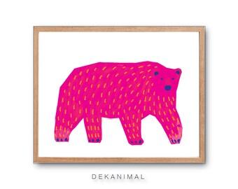 Polar Bear Art Print, Mama Bear Print, Baby Nursery decor, Bear Art Print, Animal Illustration, Children's book art, Kids room decor