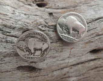 Buffalo Nickle Coin Post Earrings - Circulated