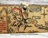 Thorin's map - Handmade  Long fandom geek Wallet  BiFold Clutch -Vegan Wallet - Thorin's map