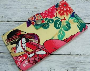 Japanese Geisha girl Handmade Long Wallet  BiFold Clutch - Vegan Wallet - Japanese Geisha wallet