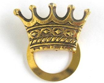 Crown Scarf Jewelry Slide / Gold Tone Metal Scarf Slide / Regal