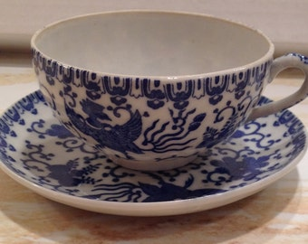 Vintage Blue & White Phoenix Bird Pattern, Cup and Saucer,  Made in Japan