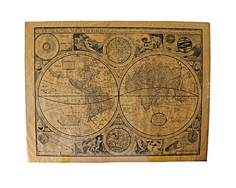 1920s World Map, Antique Graphics, Historic, Protected Under Plastic