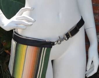 Vintage Mexican Serape with Leather Hip and Crossbody Bag Made to Order