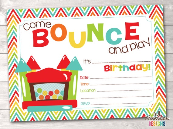 Bouncy Castle Instant Download Birthday Party Invitation Rainbow – Bounce Party Invitation