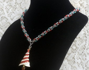 Christmas Necklace, Byzantine Chainmaille, Christmas beads, Christmas Jewelry, Xmas bracelet, Xmas jewelry, beaded chainmaille, holidays