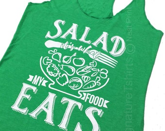 Womens Tank Top Gym Workout Fitness Funny Salad it is what my food eats carnivore meet Running Shirt Diet Gift for runner Christmas Gift