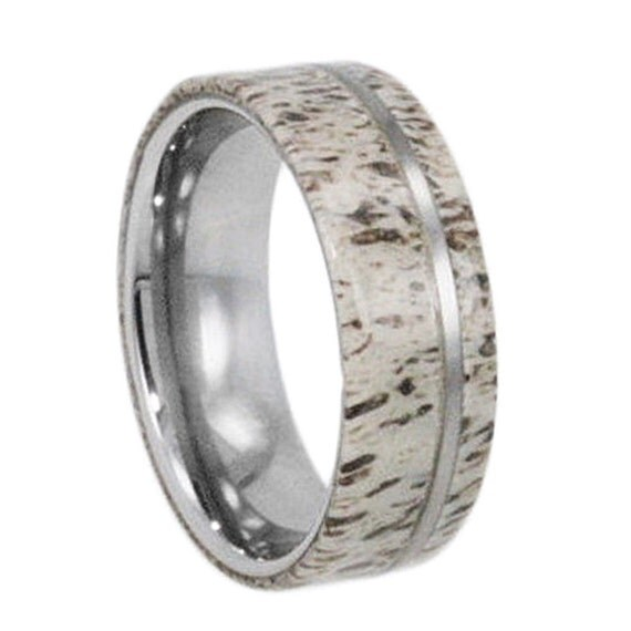 Tungsten Wedding Band, Deer Antler Ring, Tungsten Pinstripe