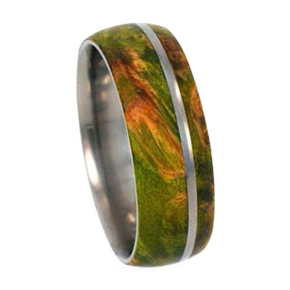 Men or Womens Titanium Wedding Band Inlaid With Green Box Elder Burl, Wood Ring, Unisex Jewelry