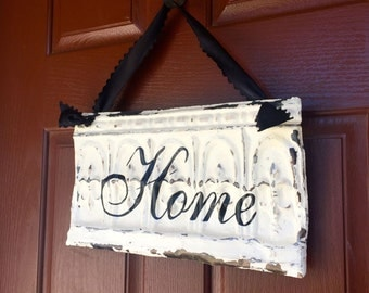 Antique Ceiling Tin Home Sign / Wreath Decor