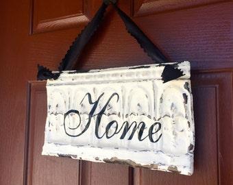 Antique Ceiling Tin Home Sign / Wreath Decor