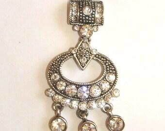 vintage art deco hobnail texture rhinestone silver drop necklace pendant