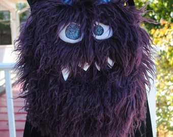 Medium Nomnom Monster Furry Messenger Purse --Darrin