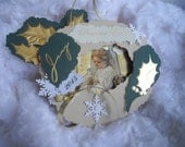 Angel Christmas Card  Gift Card Holder Keepsake Dated Three Dimensional Christmas Tree Collage Ornament and Gift Card Holder Handmade