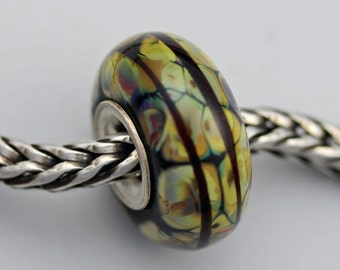Unique Multi-Hue Autumn Raku Bead  - Artisan Glass Bracelet Charm Bead (AUG-50)