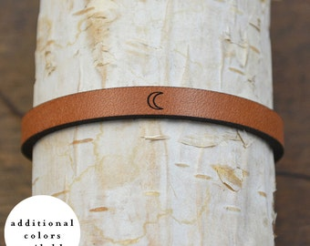 moon - adjustable leather bracelet (additional colors available)