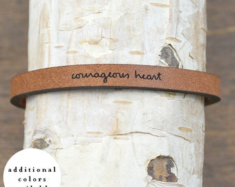 courageous heart - adjustable leather bracelet  (additional colors available)