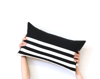 Striped Lumbar Pillow Cover in Black and Cream Breton Stripes by JillianReneDecor (12x20) - Modern Home Decor - Black and White