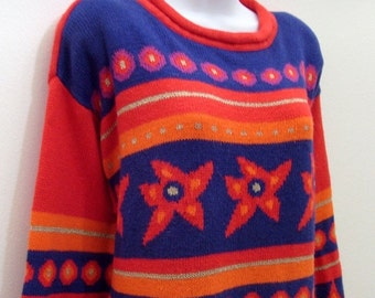 Vintage Red Cotton Tunic Sweater / Hue Do You Love / Geometric Stripes Circles Stars Diamonds / Red Orange Blue Gold Purple / 80s Size M