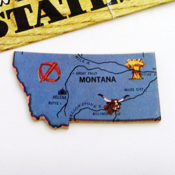 Montana Brooch - Pin / Unique Wearable History Gift Idea / Upcycled 1961 Wood Puzzle Map Piece / Timeless Gift Under 20