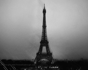 Eiffel Tower Night Avant-Garde, Fine Art Black and White Landscape photography, wall art decor, travel Europe
