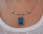 Boho chic necklace, everyday jewelry, blue stone jewelry, necklace pendant, Blue agate necklace, silver link necklace, gemstone jewelry