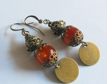 Gypsy earrings, antiqued brass earrings, mahogany red earrings, oriental dangle earrings, bohemian jewelry