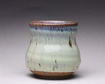 handmade pottery cup, yunomi, teacup with creamy white wood ash glazes