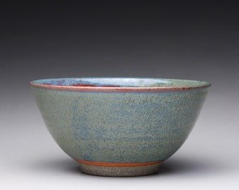 handmade pottery bowl, serving bowl, ceramic bowl with orange shino and green ash glazes