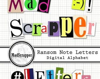 Digital Alphabet Ransom Note Magazine/Print Letters Digital and Printable