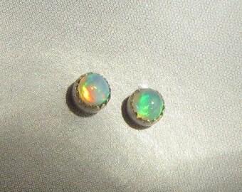 Welo Opal and Silver Post Earrings