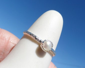 Pearl and Sterling Stackable Ring