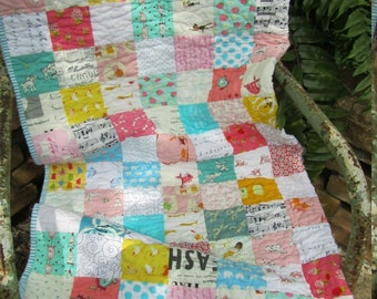 Scrappy Pinks, Aquas/Blues, Sunny Yellow and Low Volume Checkerboard Baby Girl, Toddler, Crib Quilt