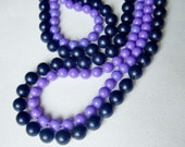 Two Popper Bead Necklaces  - 1970s Vintage Fun Jewellery in Blue and Purple