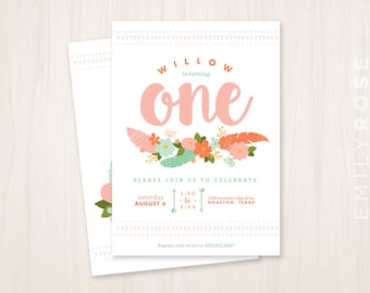 Boho Birthday Party Invitation Printable PDF | First Birthday Invite | Mint and Coral | Bohemian Baby | Customized | Digital Download