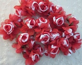36pc Chic RED WHITE Satin Organza Ribbon Wired Rose Peony Flower Reborn Doll Bridal Wedding Bow Hair Accessory Applique