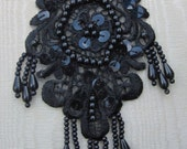 BLACK Pearl Sequin Beaded Embroidered Lace Flower Applique Bridal Scrapbook Clothing