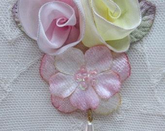 Yellow Pink Velvet Ombre Wired Ribbon Flower Applique Beaded w Sequins Glass Bead Velvet Green Leaf