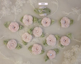 12 pc Set HANDMADE Cameo Pink Ribbon Rosette Spider Rose Flower w Stone Applique Antique Doll Dog Baby Hair Bow