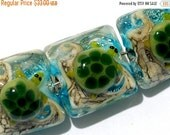 ON SALE 50% OFF Four Turtle Cove Pillow Beads 11606014 - Handmade Grace Lampwork Beads