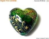 ON SALE 50% OFF Handmade Glass Lampwork Bead - 11836305 Herbal Garden Shimmer Heart