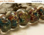ON SALE 30% OFF Handmade Glass Lampwork Bead Sets - Six Green w/Mutiple Color Rondelle Beads 10601901
