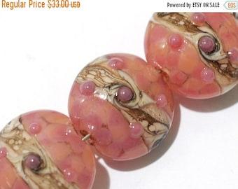 ON SALE 30% OFF Glass Lampwork Bead Set - Four Pink/Soft Orange Lentil Beads 10704312